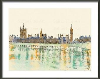 Big Ben - Houses of Parliament - London - Watercolor - Travel Art Print - Multiple Sizes