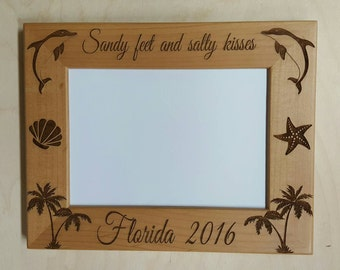 Picture Frame, Florida, 5x7 Vacation, Sea World, Dolphin  Custom Laser Engraved Picture Frame
