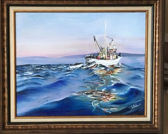 Oil painting FISHING BOAT