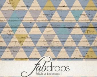 3x4 Photo Backdrop With Tribal Triangles On Wood Pattern - FabVinyl 3x4ft (FV2052)