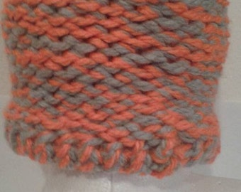 reflective orange and gray child knitted hat