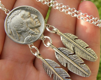 Authentic Buffalo Indian Nickel coin Feather 923 solid silver chain