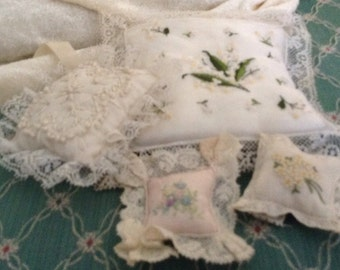 Vintage Collection of Small Needle Craft Pillowa 4