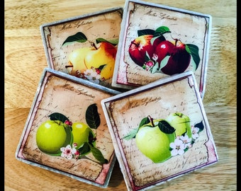 """4"""" x 4"""" Apples Stone Coasters (Set of 4) - Drink Coasters - Home Decor"""