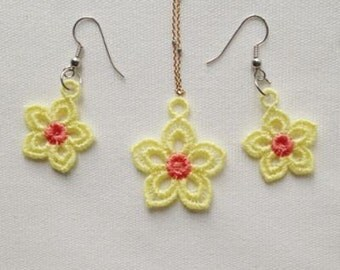 FSL Earrings And Pendant Flower Machine Embroidery Design Free Standing Lace Instant Download 4x4 hoop APE2045-004