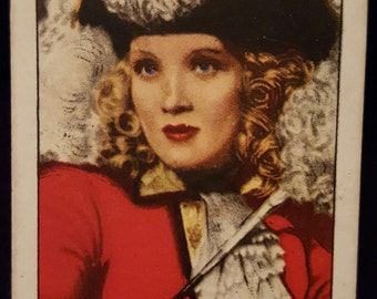 Original 1930's Marlene Dietrich Cigarette Card, Movie Star, Old Hollywood, Poster