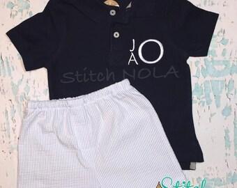 Monogrammed Collared Navy Shirt and Baby Blue Shorts Set