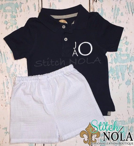 Monogrammed Collared Navy Shirt and Baby Blue Shorts Set