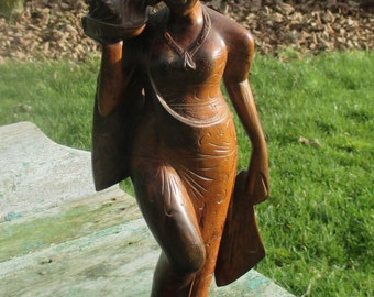 Vintage Indonesian Asian Goddess Statuette Figurine Hand Made Carved Wood