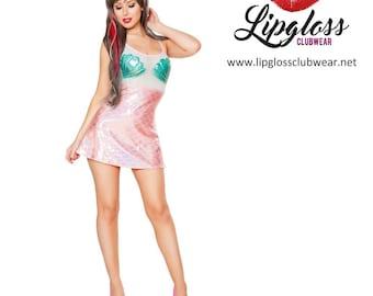 Scale & Mesh Mermaid Dress - Aqua/Baby Pink