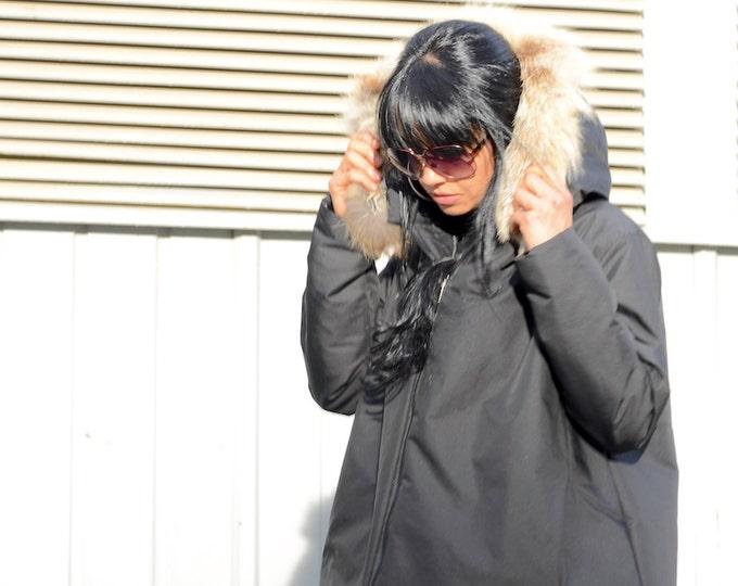 Featured listing image: Black jacket with fox fur hoodie, waterproof black coat, jacket for plus size women, extravagant jacket, warm winter oversized jacket