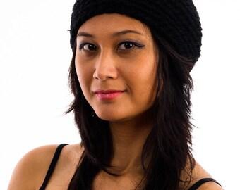 black crocheted hat