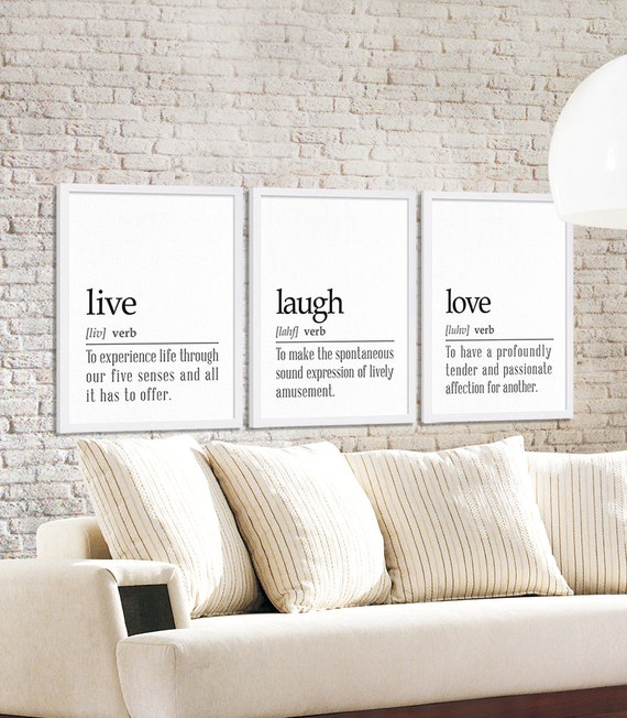 Three Dictionary Definition Art Prints Live Laugh And Love