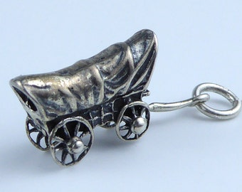 Vintage Silver bracelet charm - wagon