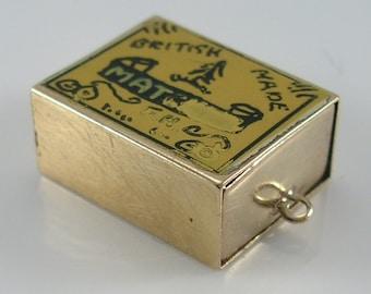 Vintage 3D 9ct Enamel Gold Match Box  Charm.H/MK 1961