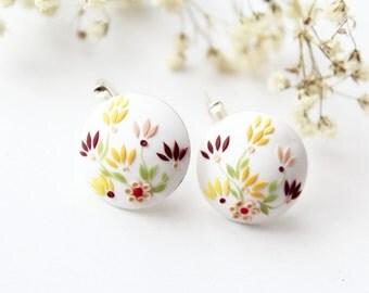 Yellow flower earrings, sterling silver 925, colorful earrings, earrings polymer clay earring, gift hot her, red flower earrings, romantic