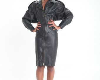 Vintage Estate Black Leather Moto Dress