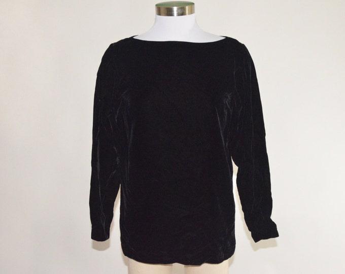 Vintage Estate Saint Laurent Rive Gauche Black Velvet Shirt Made in Paris France