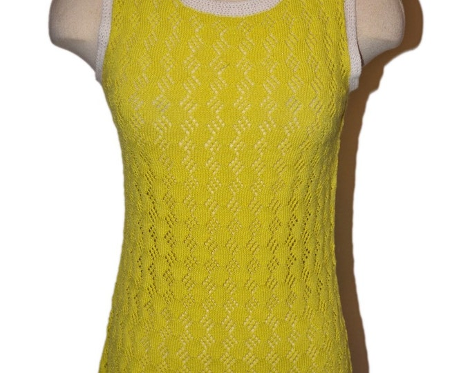 Yellow White Trim Hand Crochet Vintage Estate Shirt Dress