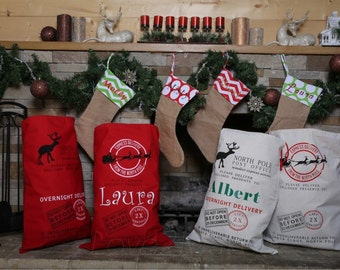 Personalized Santa Sack or Reindeer Sack. Christmas Gift Sacks. Great Price. Professional Vinyl Pressing. Christmas in July SALE!