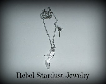 Cinderella necklace with a glass shoe and a magic wand
