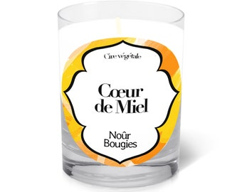 "Scented candle ""Coeur de Miel"" ( Sweet Honey) Soy Wax / Nour Bougies"