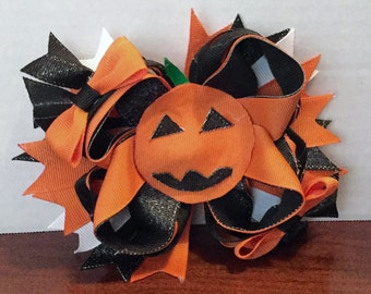 Halloween Boutique Bow, Back To School Bow, Fall Bows, Halloween Bow, Pumpkin Bow, Orange And Black Bow, TOP SELLER, Halloween Clip
