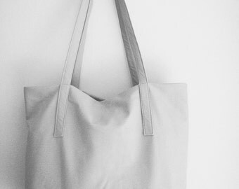 Soft dove grey leather tote