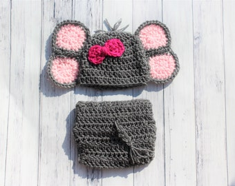 Baby Elephant Hat, Newborn Elephant, Elephant Hat, Newborn Baby Hat, Crochet Elephant, Crochet Baby Hat, Girl Elephant, Girl Elephant Hat