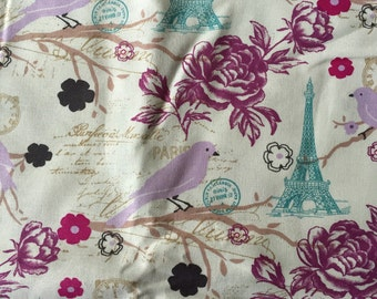 Paris Theme 100% cotton quilting weight fabric By the Yard