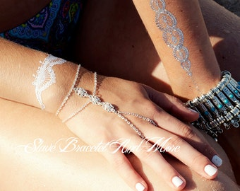 Hand piece slave bracelet silver chain with small flower connectors bohemian boho chic hippie gypsy A109