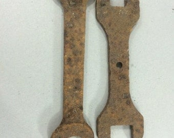 Pair of Vintage Rusty Iron Wrenches
