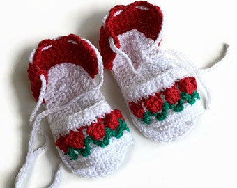 Baby sandals crochet cotton sandals babies booties baby girl sandals white with red tulips