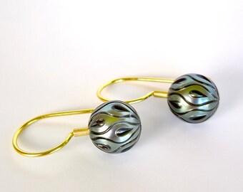 Black Pearl Earrings, Tahitian Galatea Pearl Earrings 'DROPLETS' Set in 18k Gold, Carved Pearl Earrings, Modern 18k Gold Drop Pearl Earrings