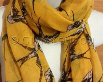 Bird Print Yellow Scarf Shawl Beach Wrap, Swallow Oversized Scarf UK SELLER