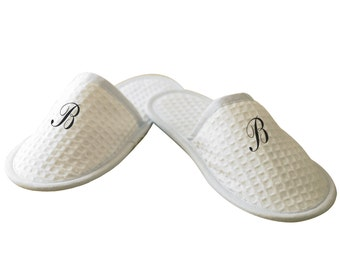 Monogram Embroidery Personalised Letters Waffle Mule Slippers