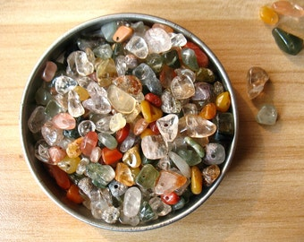Beautiful Natural Crystal Quartz Chip Beads 20 Grams 5 to 10mm Stone Crystal Quartz Tiny Chips Beads Drilled Irregular Smoothed Shapes