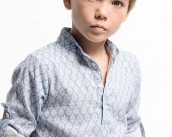 Child blue print shirt, Boy shirt, Boy summer shirt, Child shirt, blue print