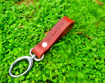 Handmade leather keychain in bordeaux with ring or spring clip