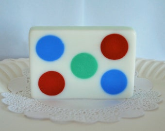 2 polka dot soaps - rectangle soaps - wedding soap - Party Soap - Scented soaps - Glycerin Soap - soap gift