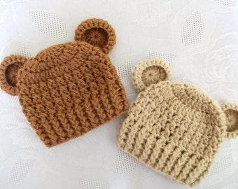 Twin boy bear hats Newborn twin hats Twin boy hats Newborn bear hats Crochet twin hats Newborn twin outfitsTwin hats with ears