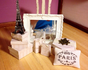 DOLLHOUSE LUXURY BOXES, handmade 1:12 scale boxes