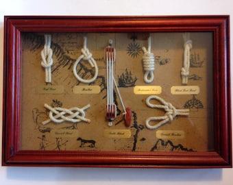Wood Framed Shadow Box Display of Maritime Nautical Knots
