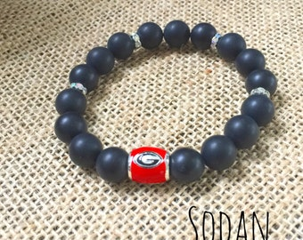 University of Ga Beaded Gemstone Bracelet