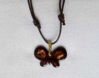 inlaid butterfly wooden necklace
