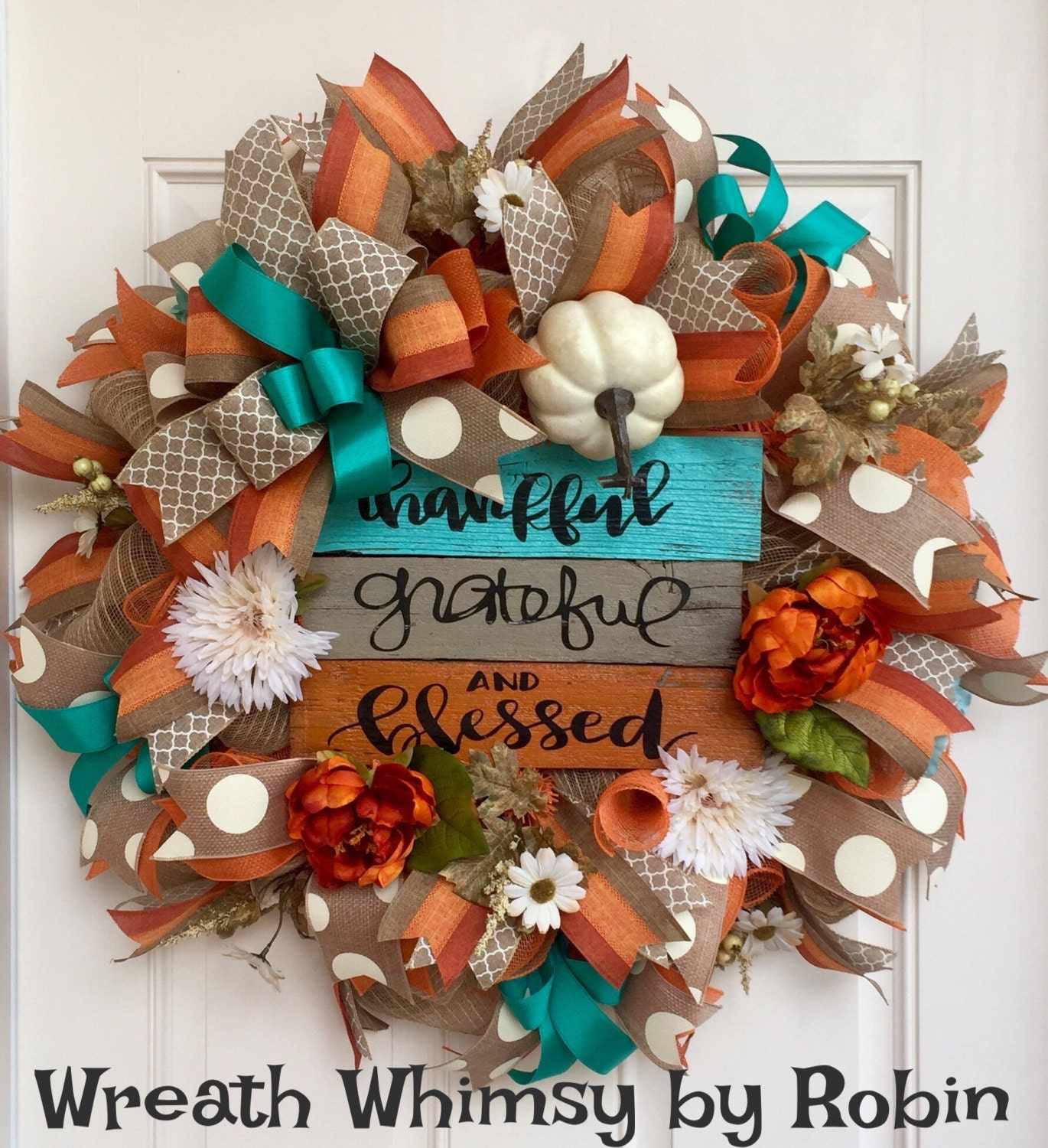 Fall Burlap Mesh Wreath With Hand Made Wood Sign In Orange
