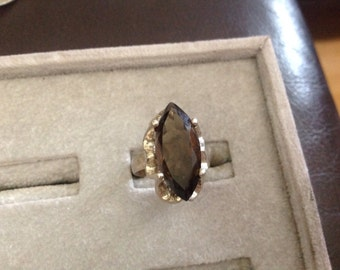 Sterling silver smokey topaz ring signed Sanches sz 7
