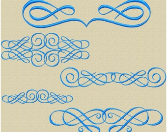 Machine Embroidery Design - Scroll Assortment 6 - 7 Designs in varying sizes