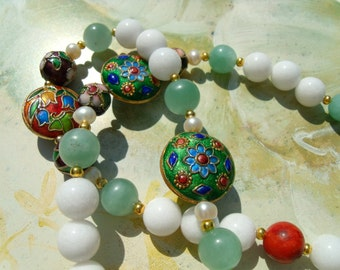 Cloisonne beads green jade coral ball necklace chain