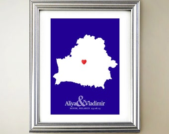 Belarus Custom Vertical Heart Map Art - Personalized names, wedding gift, engagement, anniversary date